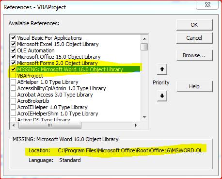 المساعدة في مكتبة مفقودة Missing لإضافة الورد - منتدى الاكسيل Excel